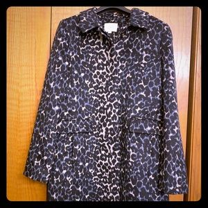 Loft Women's blue snow leopard car coat